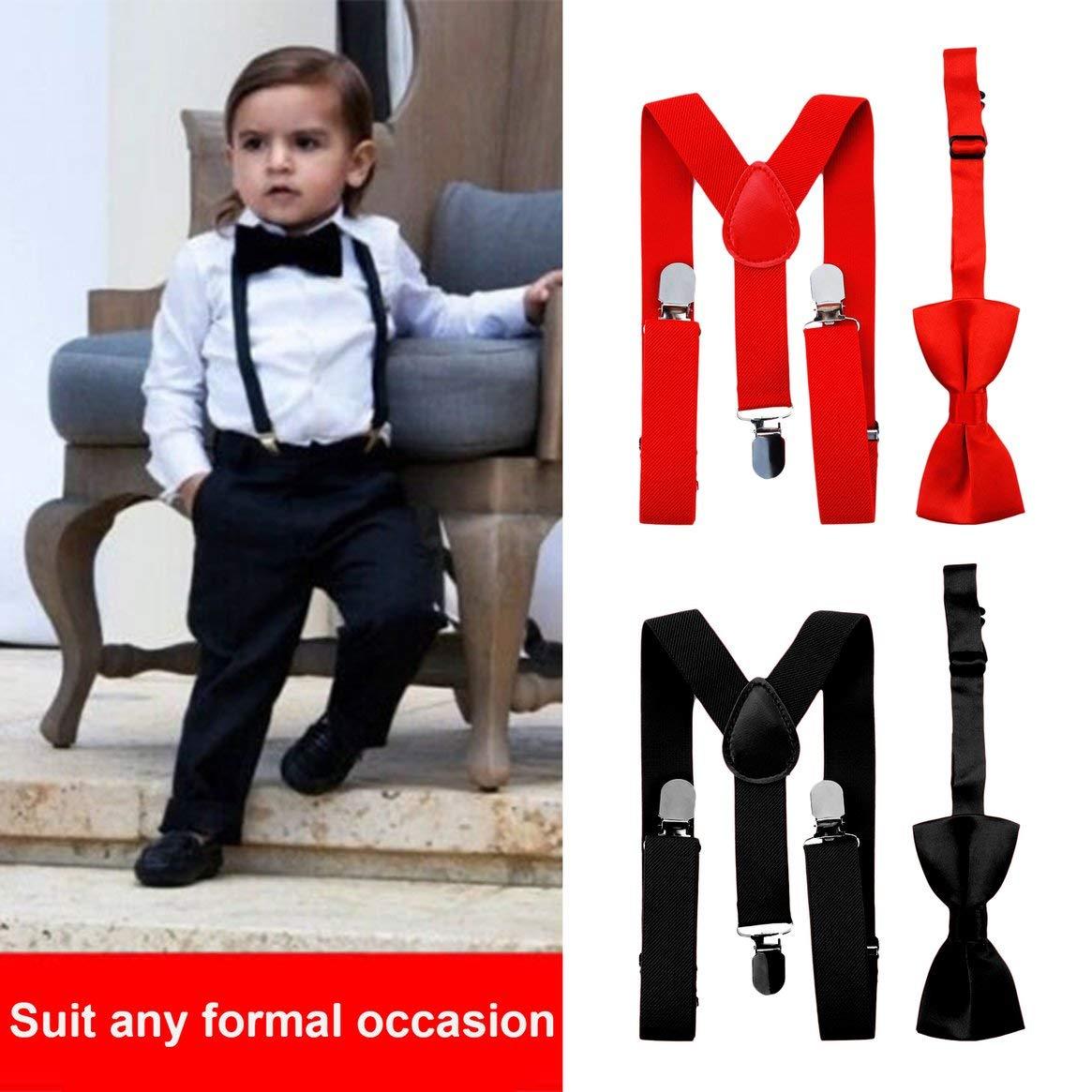 Delicacydex Regolabile ed elastico con clip in metallo Poliestere Design per bambini Bretelle e Papillon Farfallino Set cravatte abbinate