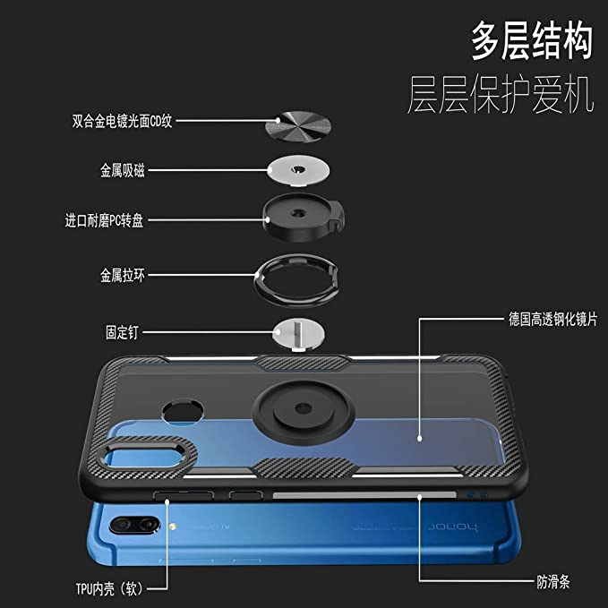 MyCase for Huawei Honor Play Tough Transparent PC Back TPU Bumper Hybrid Armor Case with 360 Degree Rotating Holder and Magnet Car Holder Color : Navy Car Cradles Accessories