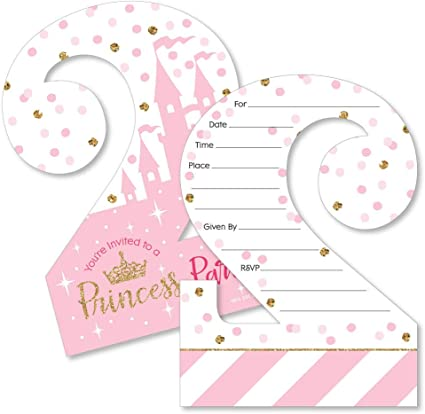 2nd Birthday Little Princess Crown Shaped Fill In Invitations Pink And Gold Princess Second Birthday Party Invitation Cards With Envelopes Set