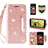 lg 2 phone accessories - LG Aristo 2 Case, Aristo 2 Plus/Phoenix 4/Zone 4/Tribute Dynasty/Fortune 2/Rebel 4 LTE/Risio 3/K8+2018 Plus Phone Case Wallet with Screen Protector Card Holder Wrist Strap for Women Girls, Rose Gold