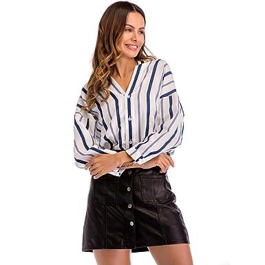 Camisas de Manga Larga Mujer, Top sin Mangas con Cuello en V para Mujer de Manga Larga con Estampado de Rayas Camisas Sueltas Blusa: Amazon.es: Ropa y ...