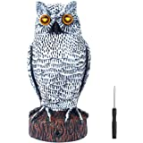 VENSMILE Fake Owl Decoy to Scare Birds Away Plastic Bird Repellent Pigeon Deterrent Garden Motion Activated Scarecrow Predator to Keep and Control Rabbit Squirrel with Flashing Light + Frightening Owl