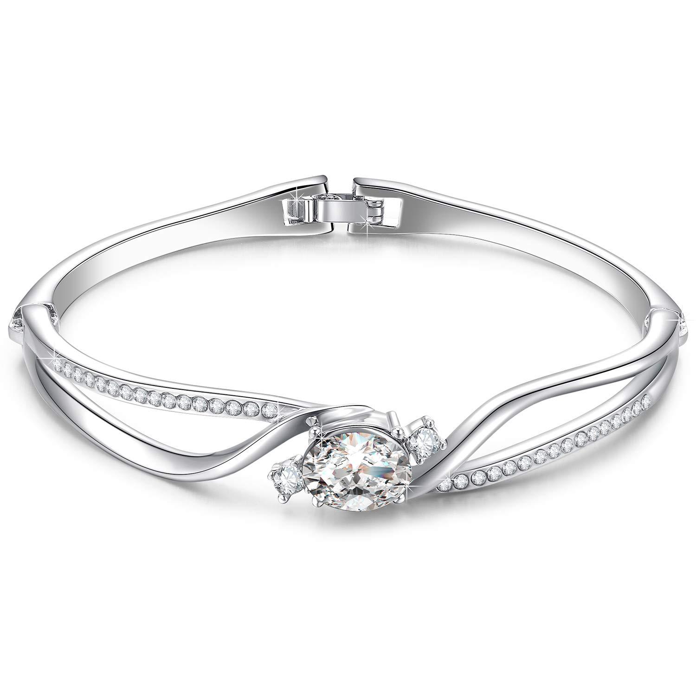 Amazon.com: Menton Ezil Mixed Swarovski Crystal Rose Gold Women Bracelet, Vintage  Clover Charm, Good Luck Bangle ...: Jewelry