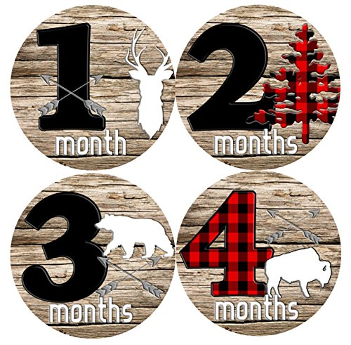 Mumsy Goose Baby Boy Month Stickers (1-12 Months) Rustic Boy 1st Year Milestone Stickers Made in the USA by Mumsy Goose