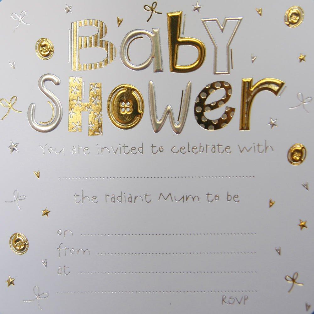 Jean Barrington Baby Shower Invitations - Gold & Silver Craftbarrow.com