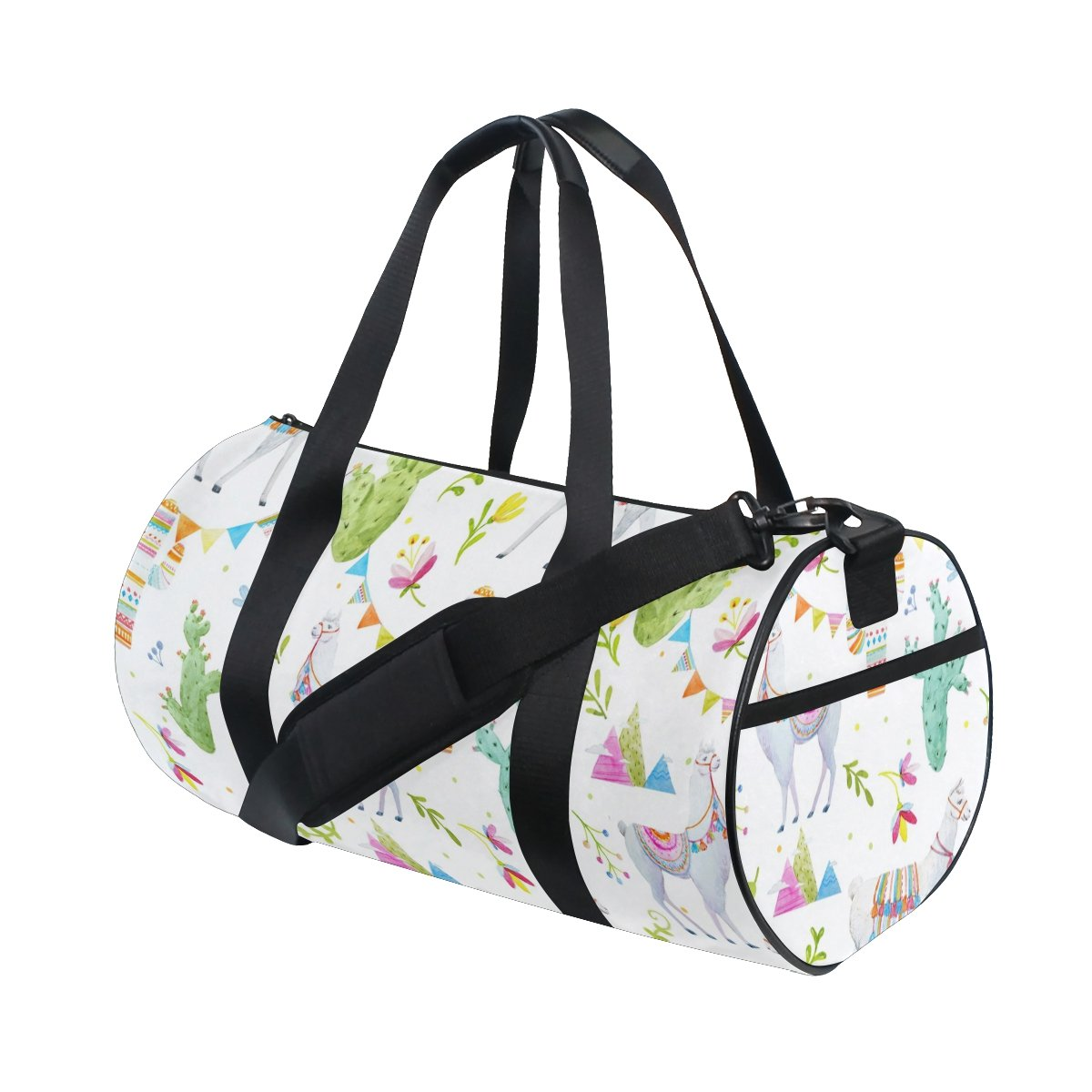 Naanle Watercolor Llama Alpaca Cactus Flag Mountain Gym bag Sports Travel Duffle Bags for Men Women Boys Girls Kids