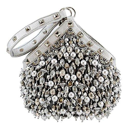 Mary Frances Platinum Persuasion Embellished Wristlet Handbag, silver