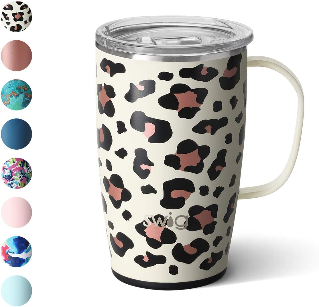 Swig Life 18oz Triple Insulated Travel Mug with Handle and Lid, Dishwasher Safe, Double Wall, and Vacuum Sealed Stainless Steel Coffee Mug in Luxy Leopard Print (Multiple Patterns Available)