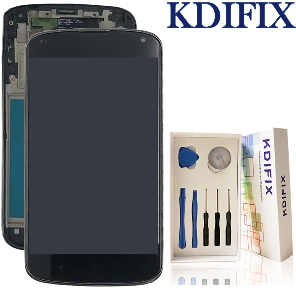 KDIFIX for LG Nexus 4 E960 LCD Touch Screen Assembly + Frame with Full  Professional Repair Tools kit (Black+Frame)