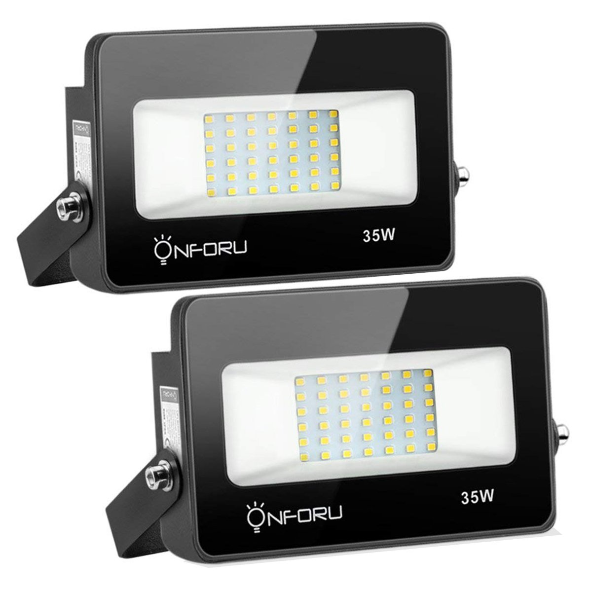 Onforu 2 Pack 35W LED Flood Light, IP65 Waterproof, 3000lm 5000K Daylight White, Super Bright Security Lights, Outdoor Landscape Floodlight for Yard, Garden, Garages, Rooftop, Party