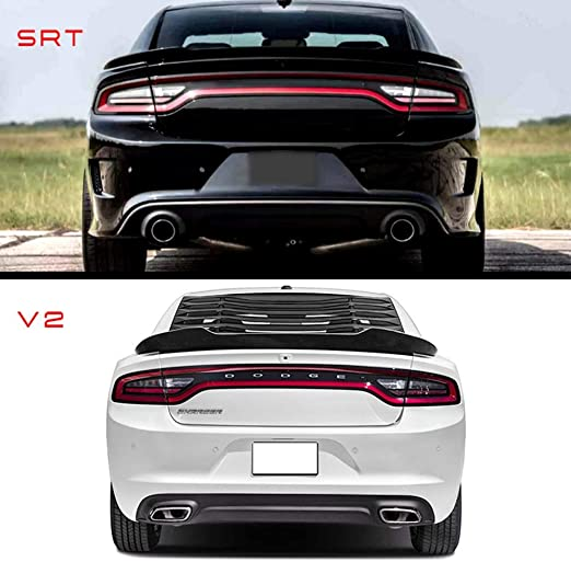 V2 Style Matte Black ABS Rear Tail Wing Boot Lid Trunk Spoiler Compatible With 2015-2020 Dodge Charger IKON MOTORSPORTS