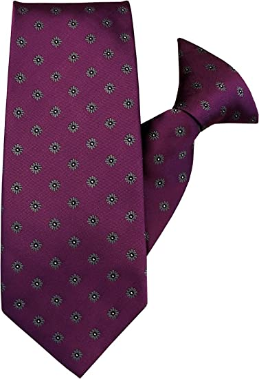 Plum with Grey Flowers Clip On Tie JH-1035
