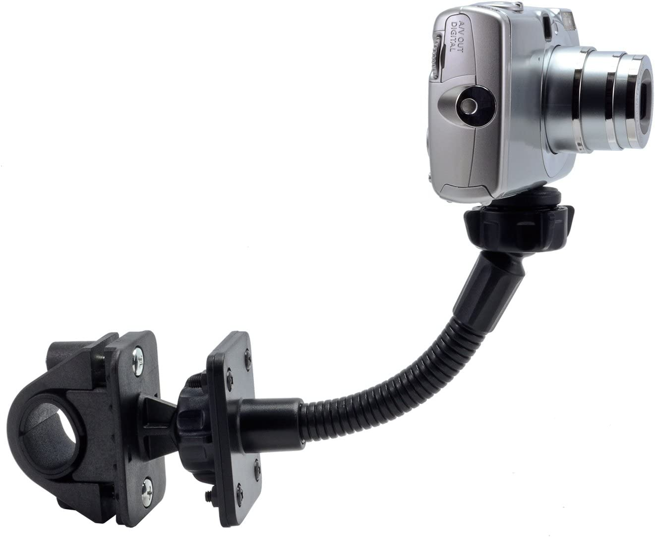 ARKON CMP205 Motorcycle and Bicycle Handle Bar Mount with 5 Inch flexible extension for Cameras with 1//4 20 screw thread