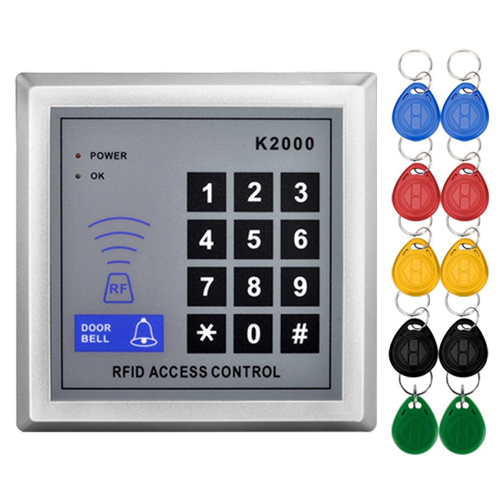 Amazon.com : Standalone Access Control Keypad RFID 125KHz Card Reader Door  Lock with 10 Proximity Key Fobs for Door Security System K2000 : Camera &  Photo
