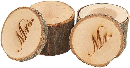 Caja de madera para anillos de Veewon, diseño para anillos de bodas: Amazon.es: Juguetes y juegos