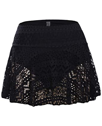 553f66aa39 Amazon.com  JomeDesign Swim Skirts for Women Lace Crochet Skirted Bikini  Bottoms Swimsuit Skort Swimdress  Clothing