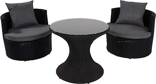 LLiving - Juego de Muebles de jardín (3 Piezas, 2 sillones, 1 Mesa), Color Negro y Gris: Amazon.es: Jardín
