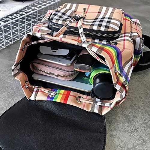 Travel Women's Ver Certificate Bag Bag Joker Hit Bag Type Single Bag Backpack Student Color Shoulder Checkered Bag Women's Brown Fashion Korean Small Hit Zipper Square Square Vertical Leisure Shoulder Plaid f0frq