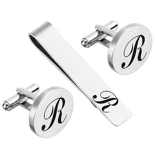 zunon mens cufflinks wedding engraved monogram initial letter groom groomsman best man tie clip tack bar