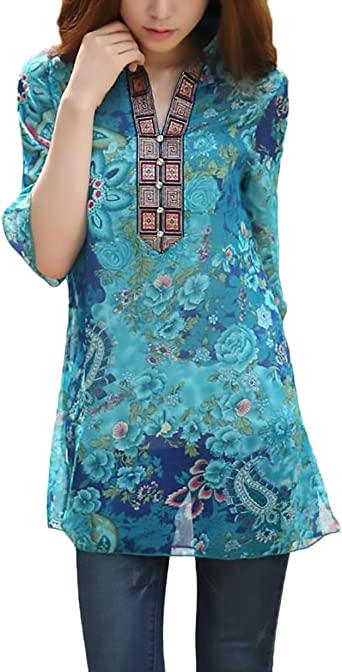BOLAWOO Blusas Mujer Verano Tallas Grandes Elegantes Chic Vintage Estilo Etnico Impresa Camisa De Gasa 3/4 Manga Tops Blusa Túnica Moda Casual: Amazon.es: Ropa y accesorios