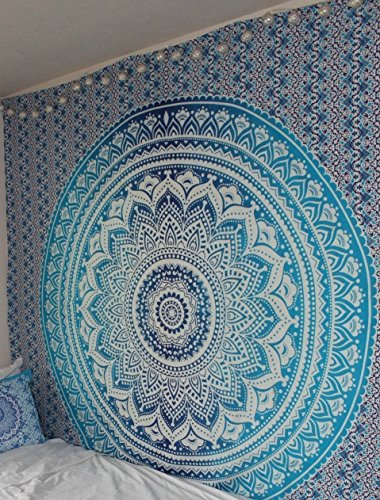 Art Jaipur - Blue Ombre Tapestry Hippie Mandala Bohemian Psychedelic tapestry wall hangings wall art Ethnic Dorm Decor Indian Bedspread Magical Thinking Tapestry Beach Blanket picnic by Jaipur Handloom