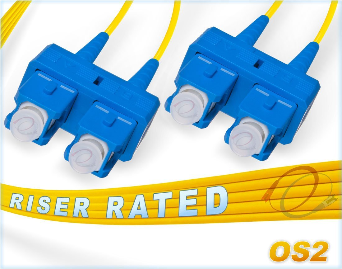 FiberCablesDirect - 7M OS2 SC SC Fiber Patch Cable | Duplex 9/125 SC to SC Singlemode Jumper 7 Meter (22.97ft) | Length Options: 0.5M-300M | ofnr sc-sc Single-Mode dup sc/sc smf dx Yellow PVC