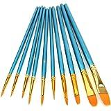 10 Stück Runde spitzen Spitze Nylon Haarbürste Set, Künstler Pinsel Set für Aquarell Öl Acryl Malerei (blau)