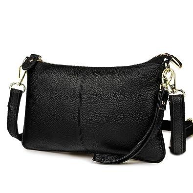 Mynos Fashion Genuine leather Crossbody Bag for Women Small Wristlet Clutch  Purse Phone Wallets (Black 2b1aa8de04