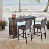 Hampton Bay Rehoboth 3-Piece Wicker Outdoor Bar Height Dining Set