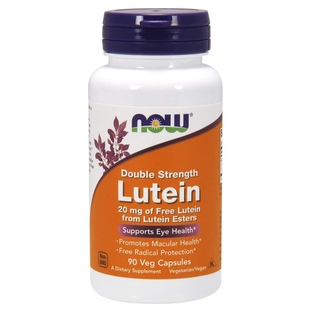 NOW Supplements, Lutein 20 mg with 20 mg of Free Lutein from Lutein Esters, 90 Veg Capsules by NOW
