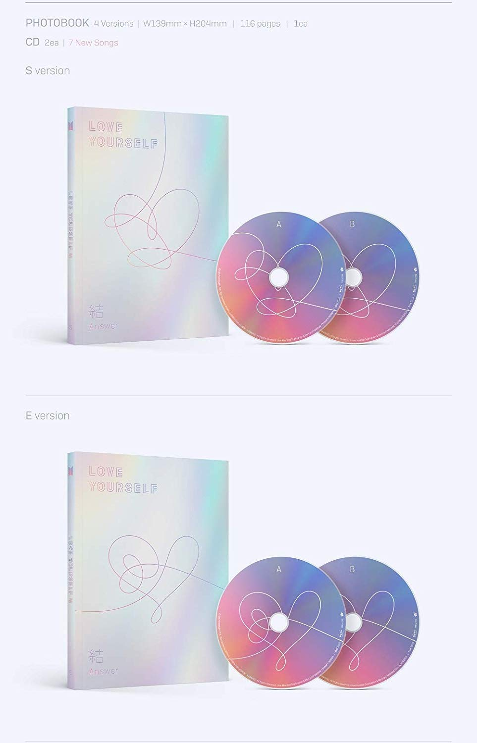 BTS - [Love Yourself 結 'Answer'] 4th Album F VER 2CD+Poster+116p PhotoBook+20p Mini Book+1p PhotoCard+1p Sticker+Pre-Order+Extra PhotoCard Set K-POP Sealed by BTS (Image #3)