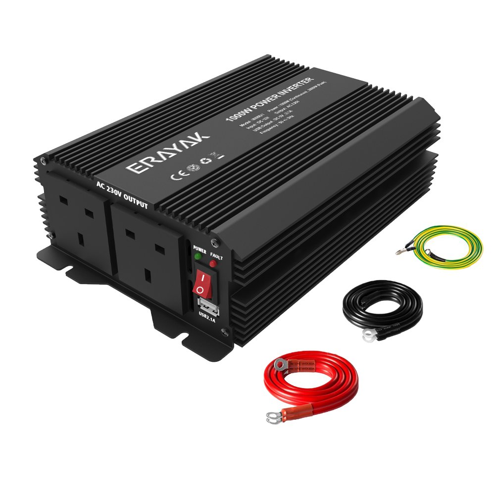 2000W Power Inverter, ERAYAK DC12V to AC 230V/240V Peak 4000W Converter with 2 UK AC Outlets, 2.1A USB Ports and Car Battery Cable