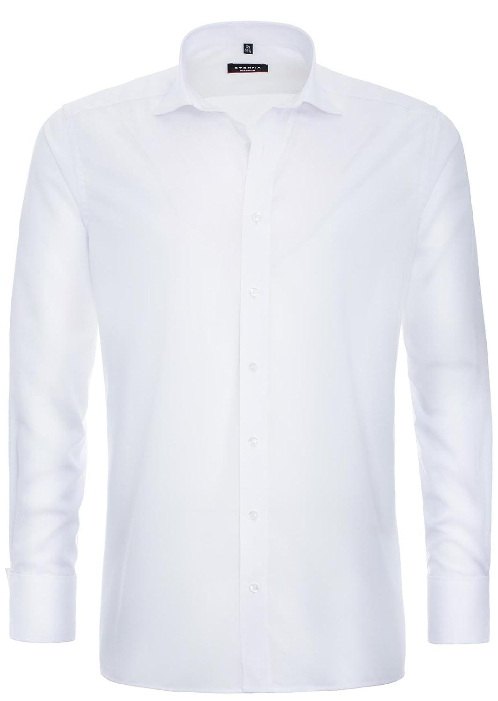 ETERNA Herren Langarm Hemd Modern Fit Uni Popeline Umschlagmanschette weiß 8500.00.X487