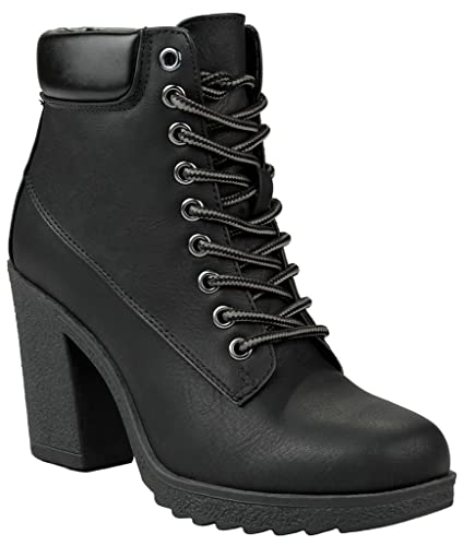 Women JOJO Black Military Two Tone Lace Up Platform Chunky High Heel Ankle Booties