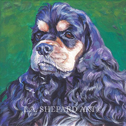(A Cocker Spaniel Dog art portrait print of an LA Shepard painting 12x12