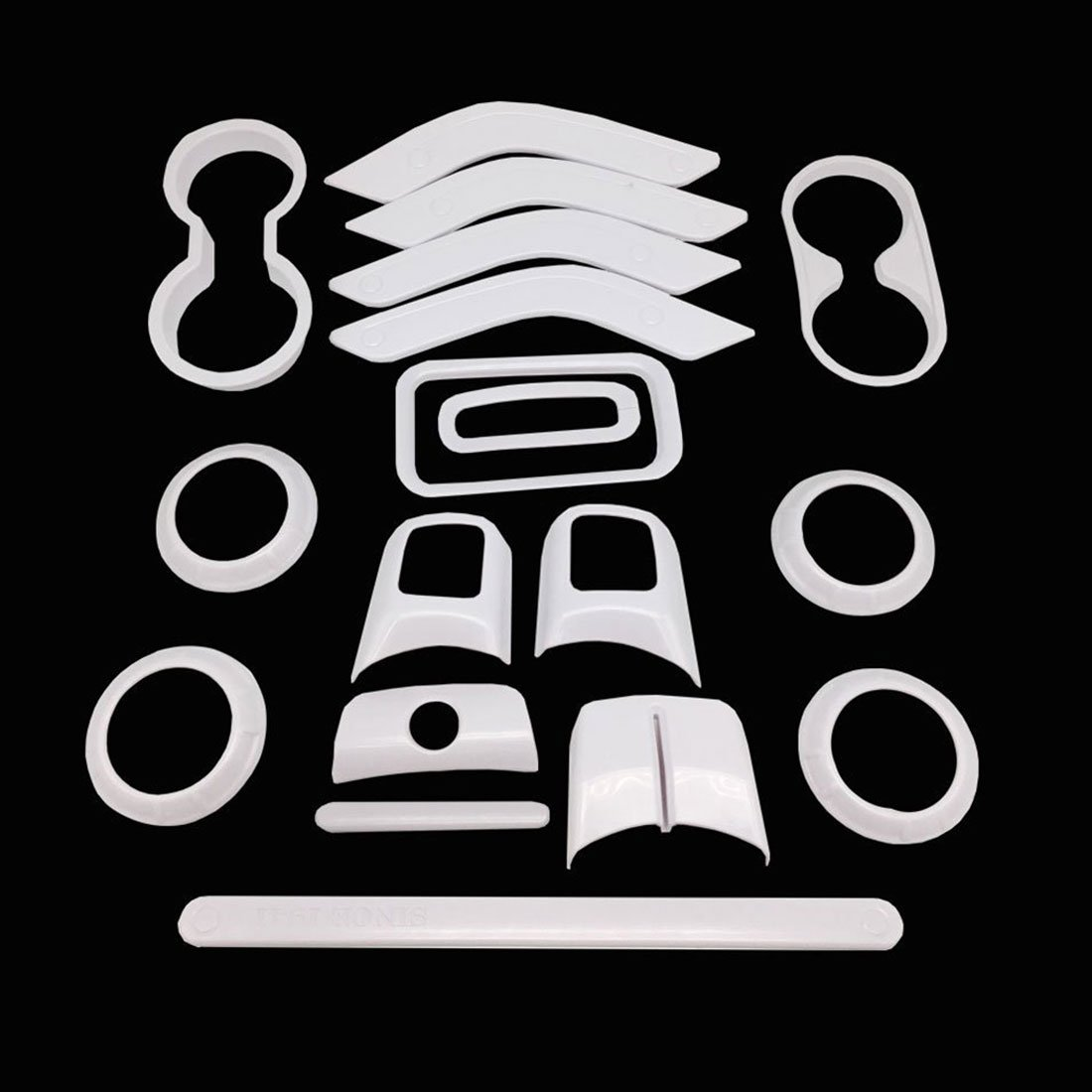 E-cowlboy 18 PCS Full Set Interior Decoration Trim Kit,Interior Door Handle Cover Trim,Air Conditioning Vent Cover Trim Silver Copilot Handle Cover Trim,for Jeep Wrangler JK JKU 2011-2018 4-Door