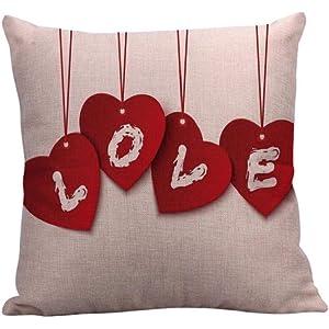 Fundas de Cojines,SHOBDW Regalo de San Valentin Fundas de Almohada Rojas de Lino súper Suave sofá Cama Inicio Boda romántica Decoración del hogar(45cmx45cm ...