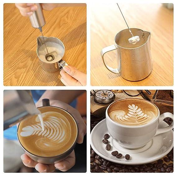 W&Z Espuma de Leche de Mano Espuma eléctrica Fabricante Leche espumoso Jarra café Polvo coctelera Barista Plantillas y Arte Pluma café Arte Set para ...