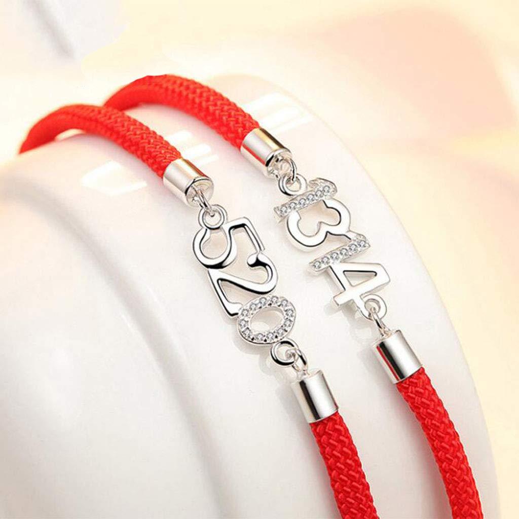 9667cc3dc57c GJ S925 Joyas de Plata 5201314 Pulseras de Pareja Un Par de Pulseras de Cuerda  Roja Europa y los Estados Unidos Pulsera de Moda Pulsera (Color   Blanco)   ...