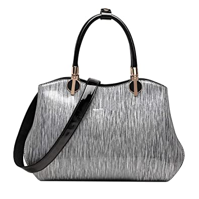 3702fa2478 KAXIDY Mode Sac à Main Femme Cuir Verni Sac Fourre-Tout à Bandoulière Sac  Porté