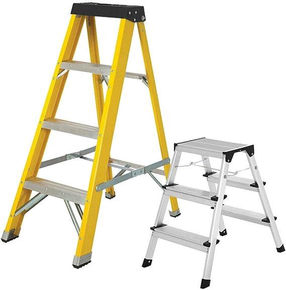 Excel - Escalera de fibra de vidrio resistente con 4 lados individuales y escalera de 3 peldaños: Amazon.es: Bricolaje y herramientas