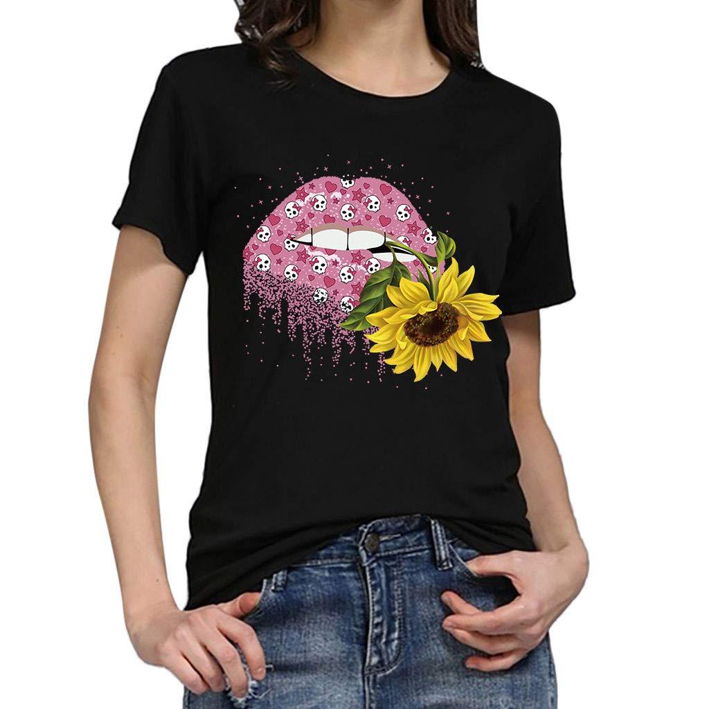 ✔piabigka✔ 2019 Maglietta Donna Divertenti Vintage Tumblr Magliette Donna Manica Corte estive Ragazza t Shirt Stampata a Cuore Bluse Casual Camicia Sportivi Cotone Stretch Maglione Elegante Top