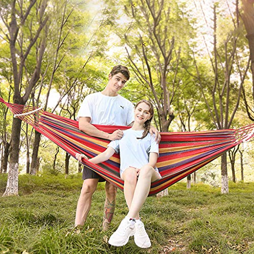 Maikouhai Outdoor Travel Canvas Hammock Swing with 2 Sticks Stand to Prevent Rollover for Hiking, Camping, Sea, Beach, Travel, Seaside, Backyard, Garden, Patio, 103x60inches, Max 330 Pounds ()
