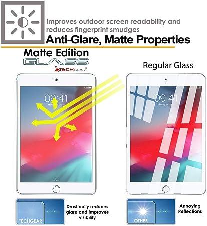 Mate Vidrio Edici/ón Protector de Pantalla de Vidrio Templado Compatible con Apple iPad Mini 5 TECHGEAR Antirreflejo Protector de Pantalla para iPad Mini 5 2019