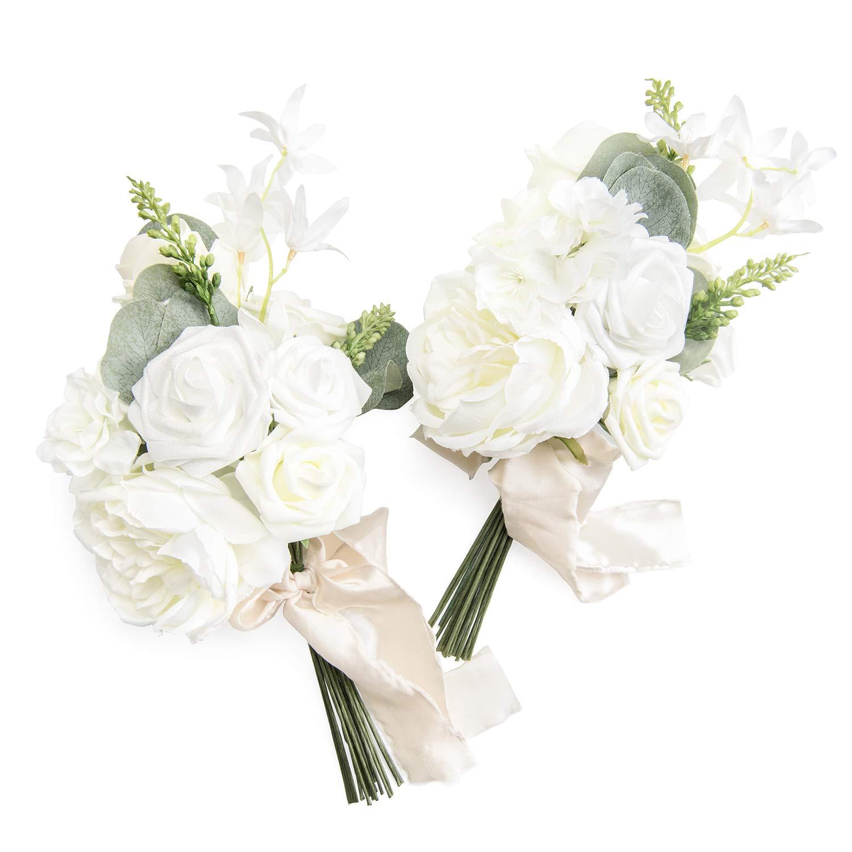 Amazon Com Ling S Moment White Flower Posy For Bridemaids Bouquet