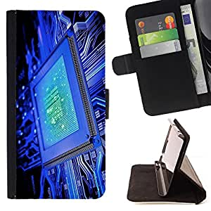 BullDog Case - FOR/HTC One M9 / - / computer chip blue code technology it /- Monedero de cuero de la PU Llevar cubierta de la caja con el ID Credit Card Slots Flip funda de cuer