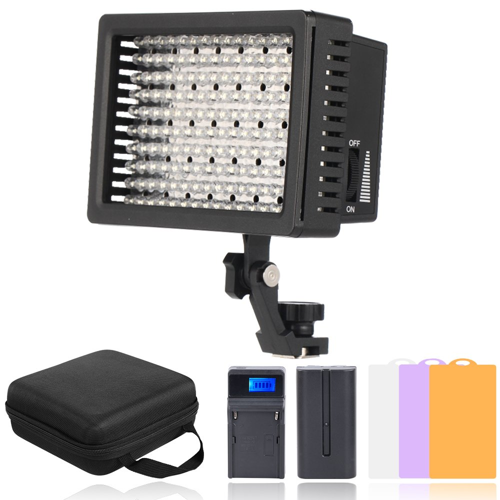 Hakutatz 160 LED Dimmable Ultra High Power Panel Video Light Kit 2600mAh Battery,USB Battery Charger,Carrying Case,3 filters for Canon Nikon Pentax Panasonic,Other Digital DSLR Camcorder Camera