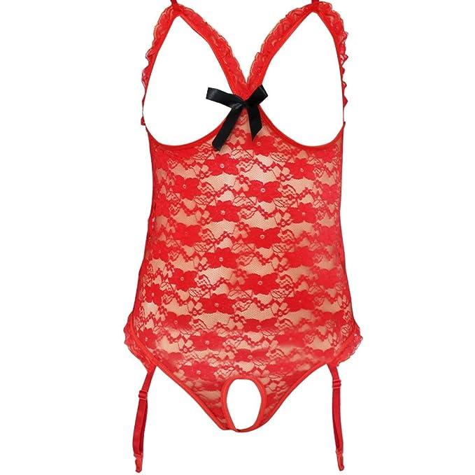 c9556a0c5f YiZYiF - Conjunto de lencería - para mujer Rojo rosso XX-Large  Amazon.es   Ropa y accesorios