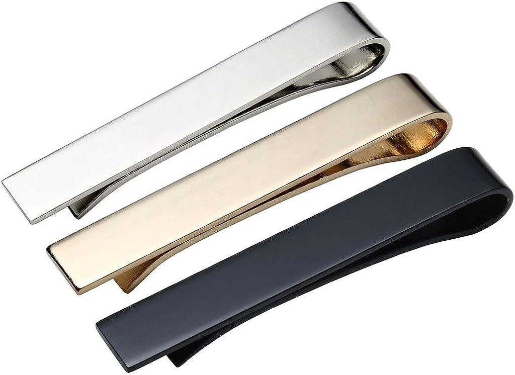 Jovivi 3pcs Mens Tie Bar Pinch Clip Set for Regular Ties, 2.1 Inch, Silver, Black, Gold Tone Gift Box