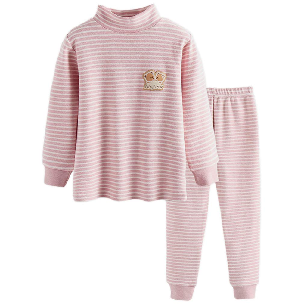 GLEAMING GRAIN Little Girls Long Sleeve Striped Jammies Girls Thermal Underwear Organic Cotton Apparel PJ Set Pink 4T by GLEAMING GRAIN